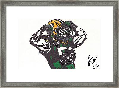 Framed Print featuring the drawing Clay Matthews 2 by Jeremiah Colley