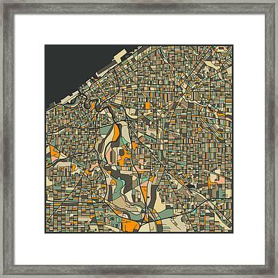 Cleveland Map Framed Print
