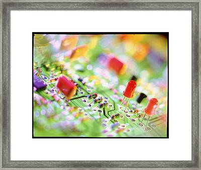 Close-up Of An Electronic Circuit Board. Framed Print by Tek Image
