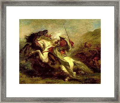 Framed Print featuring the painting Collision Of Moorish Horsemen by Eugene Delacroix