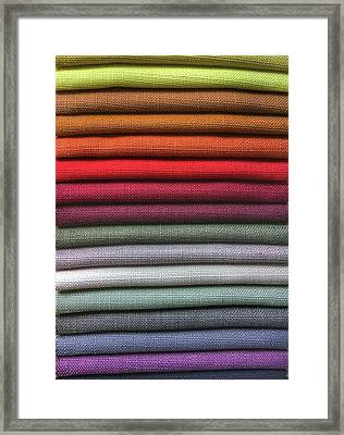 Colorful Fabric Samples Framed Print by Tom Gowanlock