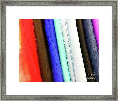 Colorful Fabrics Selection Framed Print by Tom Gowanlock