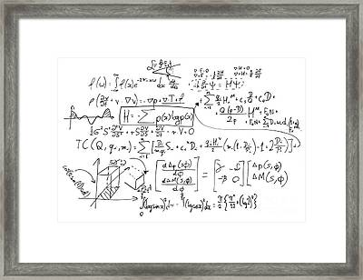 Complex Math Formulas On Whiteboard. Mathematics And Science With Economics Framed Print