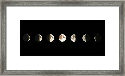 Composite Image Of The Phases Of The Moon Framed Print by John Sanford
