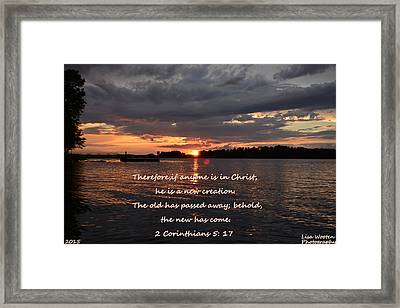 2 Corinthians 5 17 Sunset Framed Print by Lisa Wooten
