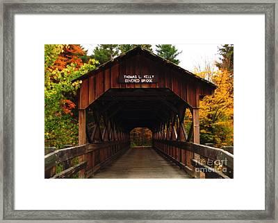 Covered Bridge At Allegany State Park Framed Print