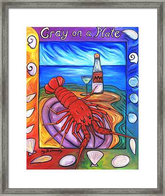 Framed Print featuring the painting Cray On A Plate by Dianne  Connolly