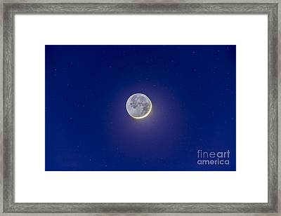 Crescent Moon With Earthshine Framed Print by Alan Dyer