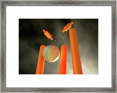 Cricket Ball Hitting Wickets Framed Print by Allan Swart