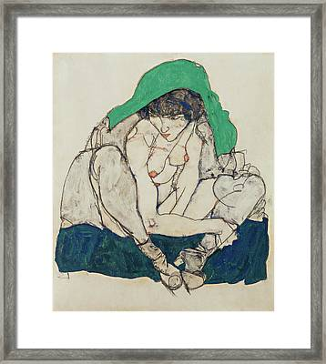 Crouching Woman With Green Headscarf  Framed Print by Egon Schiele