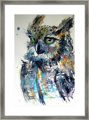 Framed Print featuring the painting Cute Owl by Kovacs Anna Brigitta