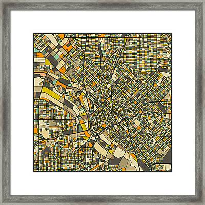 Dallas Map Framed Print by Jazzberry Blue