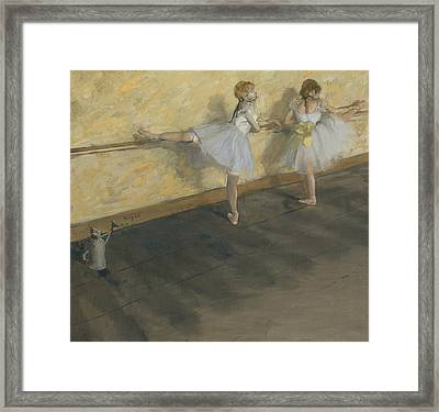 Dancers Practicing At The Bar Framed Print by Edgar Degas