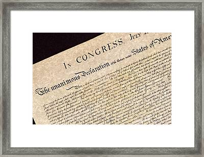 Declaration Of Independence Framed Print by Jack R Perry