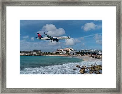 Delta Air Lines Landing At St. Maarten Framed Print