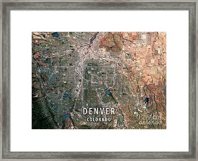 Denver 3d Render Satellite View Topographic Map Framed Print by Frank Ramspott