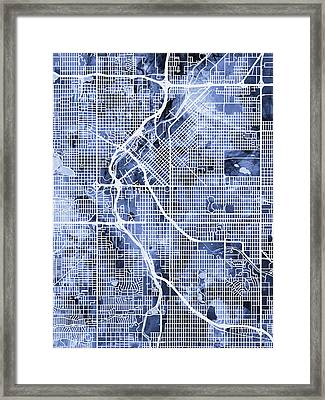 Denver Colorado Street Map Framed Print by Michael Tompsett