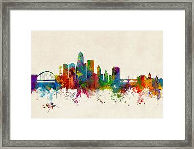 Des Moines Iowa Skyline Framed Print by Michael Tompsett