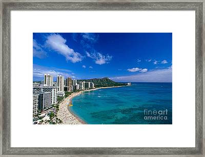 Diamond Head And Waikiki Framed Print