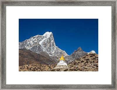 Dingboche Stupa In Nepal Framed Print