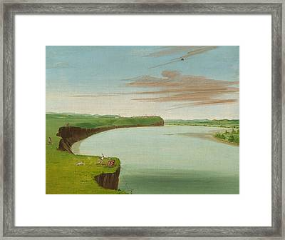 Distant View Of The Mandan Village Framed Print
