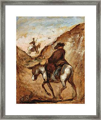 Don Quixote And Sancho Panza Framed Print by Honore Daumier