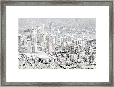 Downtown Cincinnati Framed Print by L O C