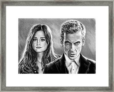 Dr Who And Clara Framed Print