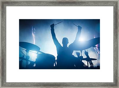 Drummer Playing On Drums On Music Concert. Club Lights Framed Print