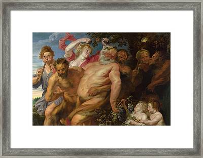 Drunken Silenus Supported By Satyrs Framed Print by Anthony van Dyck