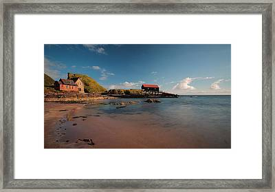 Dunaverty Bay Boathouse And Sea Captains Quarters Framed Print by Maria Gaellman