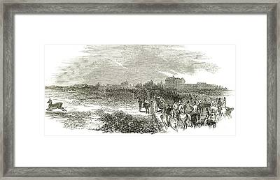 Easter Hunt With The Royal Stag Hounds  The Meet At Stoke Common Framed Print