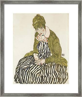 Edith With Striped Dress, Sitting Framed Print by Egon Schiele