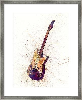 Electric Guitar Abstract Watercolor Framed Print