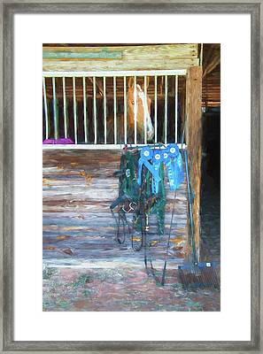 Equestrian Event Rocking Horse Stables Painted  Framed Print
