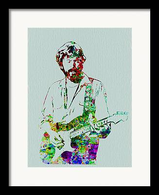 Eric Clapton Playing Guitar Framed Prints