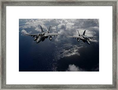 F A-18e Super Hornets Participate In An Air Power Demonstration Framed Print