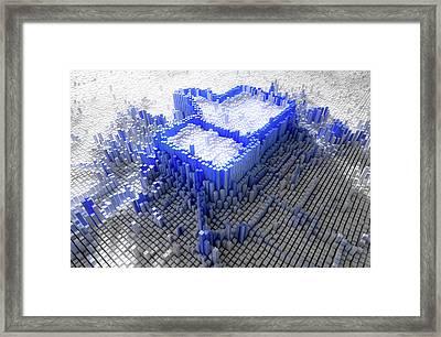 Facebook Like Logo In Pixels Framed Print by Allan Swart
