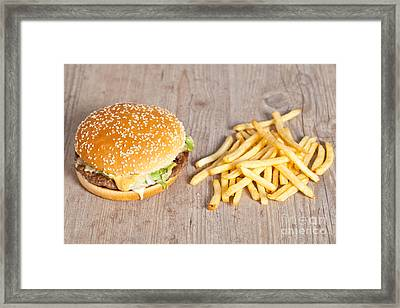 Fat Hamburger Sandwich Framed Print