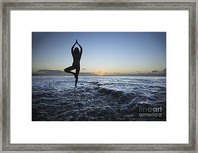 Female Doing Yoga At Sunset Framed Print by Brandon Tabiolo - Printscapes