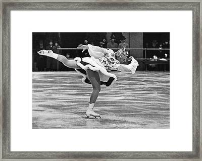 Figure Skater Melitta Brunner Framed Print by Underwood Archives