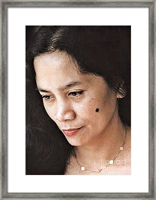 Filipina Beauty With A Mole On Her Cheek Framed Print by Jim Fitzpatrick