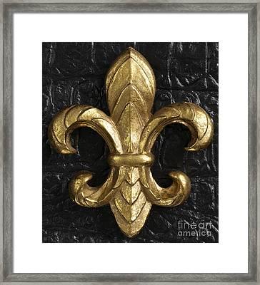 Gold Fleur-di-lis Framed Print by Tony Cordoza