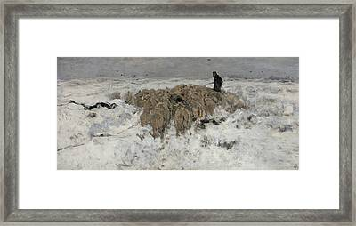Flock Of Sheep With Shepherd In The Snow Framed Print