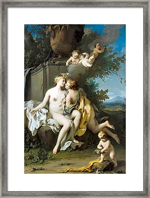 Flora And Zephyr  Framed Print by Jacopo Amigoni