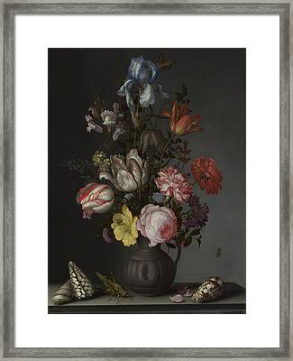 Flowers In A Vase With Shells And Insects Framed Print