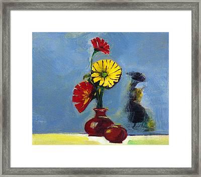 Flowers In Vase Framed Print by Anil Nene