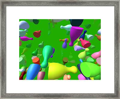 Flying Pieces Framed Print