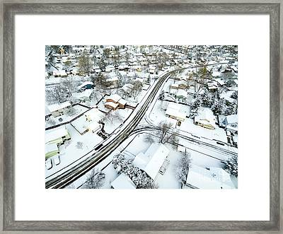 Fort Collins Winter Cityscape Framed Print by Marek Uliasz