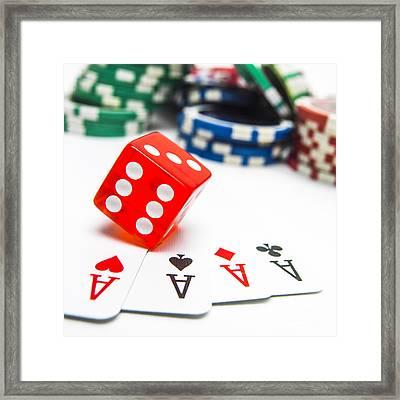 Four Aces And Gambling Framed Print by Bernard Jaubert